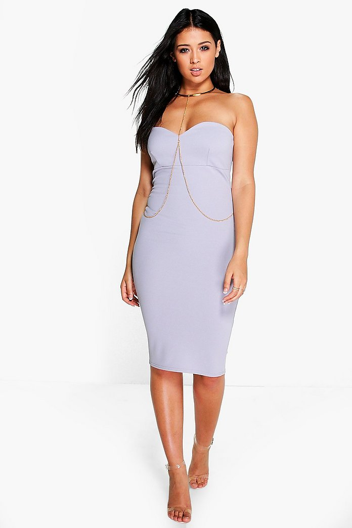 Ella Necklace Harness Detail Midi Dress
