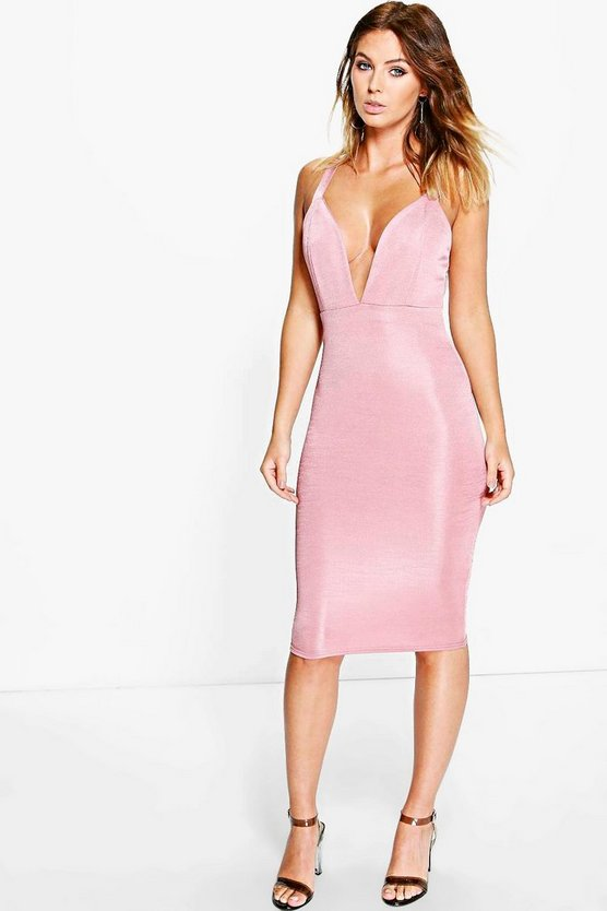 Lindsey Ribbed Plunge Neck Midi Dress