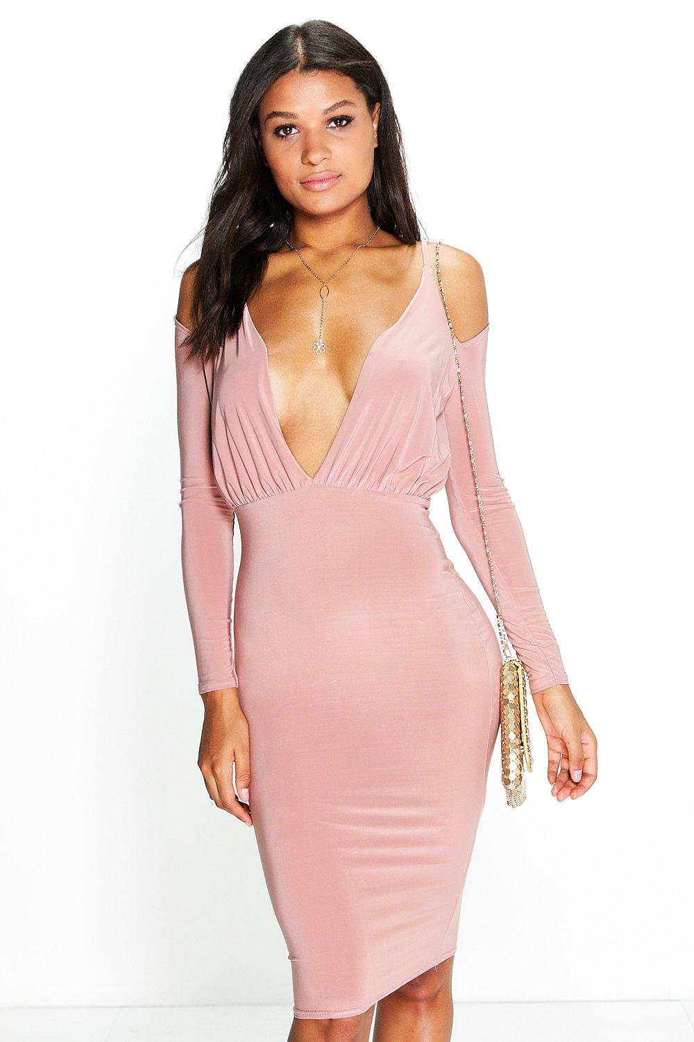 Eva Open Shoulder Midi Bodycon Dress