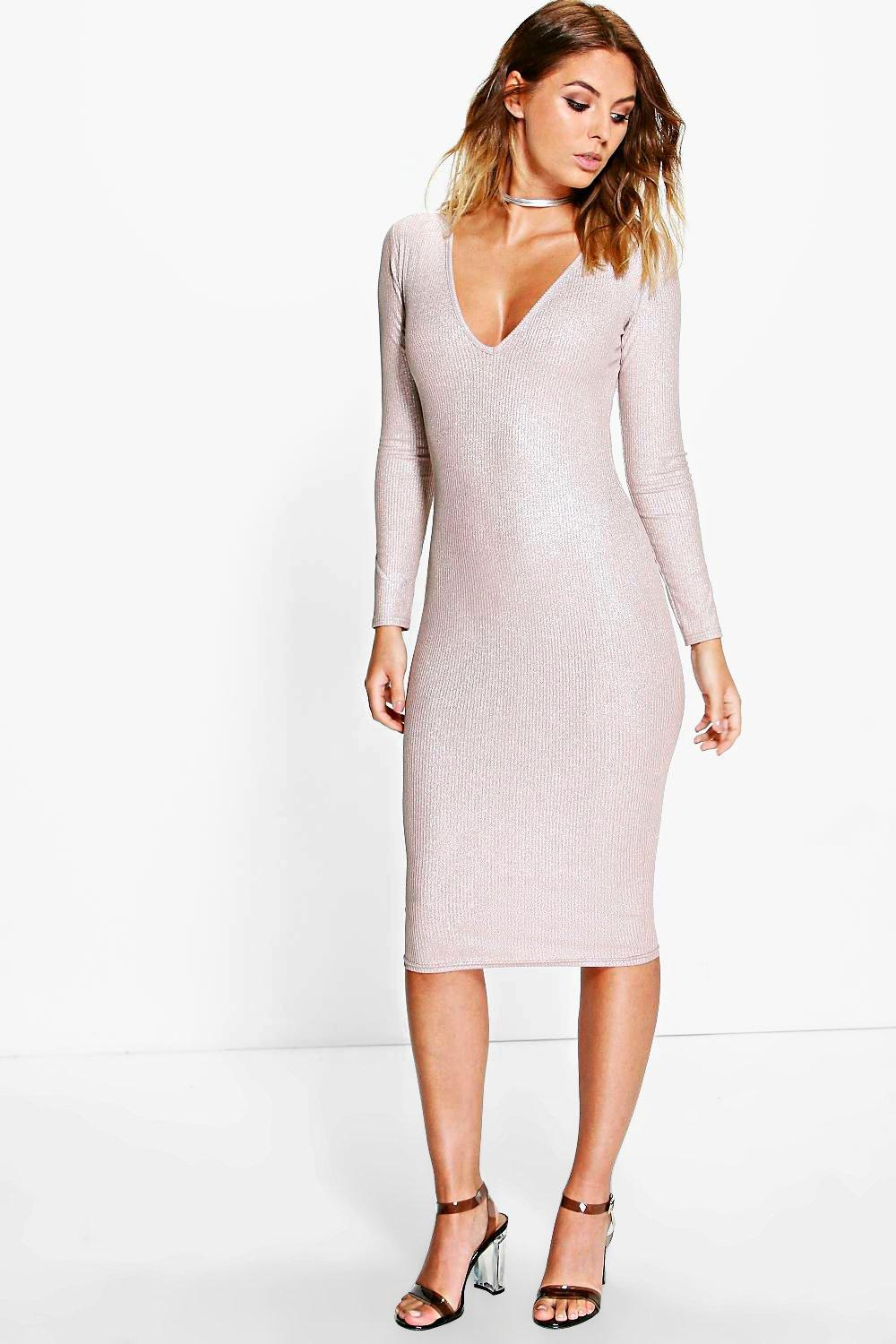 Keira Metallic V Neck Midi Bodycon Dress