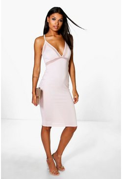 Ariane Mesh Strappy Midi Bodycon Dress