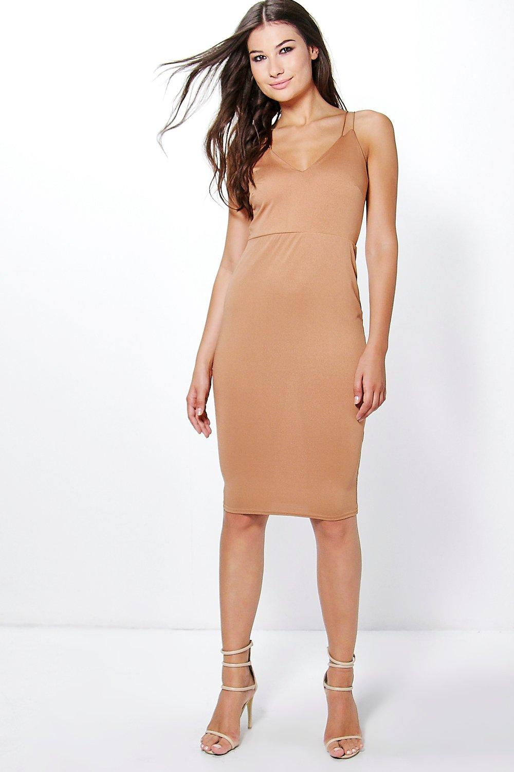 Amy Double Strap Plunge Midi Dress