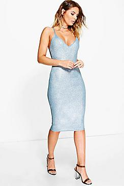 Pascale Metallic Rib Strappy Midi Dress