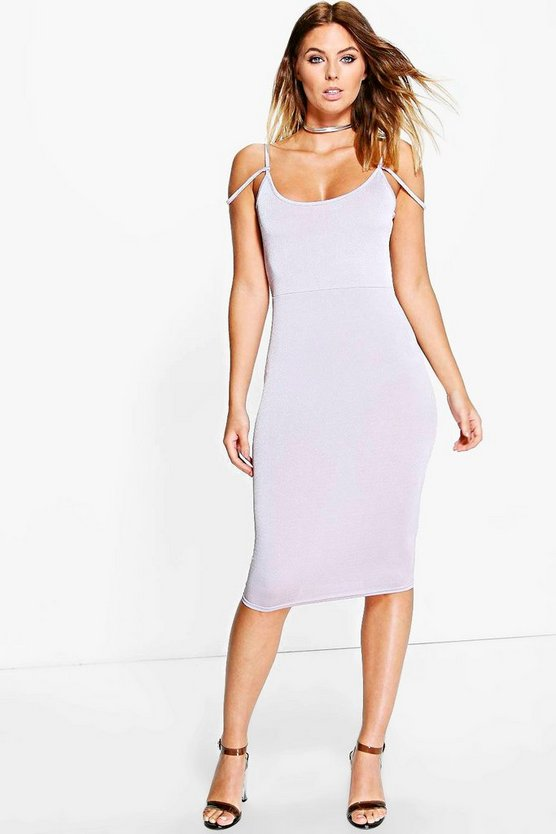 Sally Slinky Open Shoulder Midi Dress