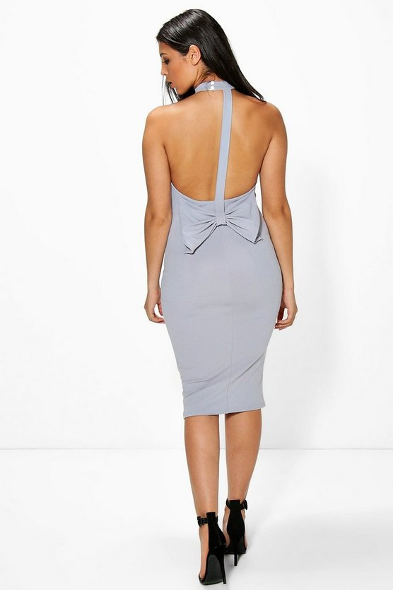 Faye Highneck Bow Back Midi Dress