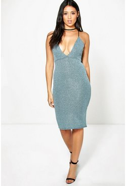 Emily Metallic Rib Plunge Strappy Midi Dress