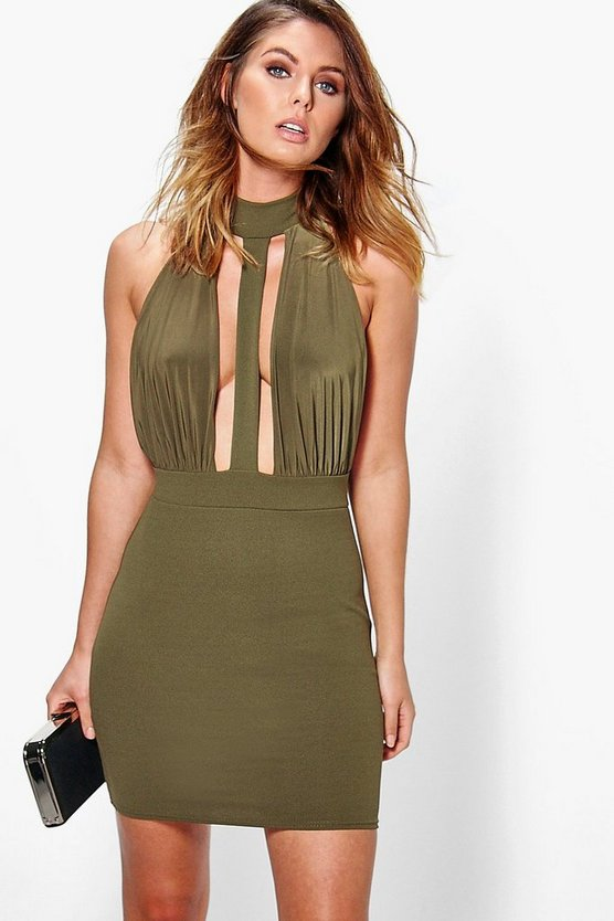 Maya Choker Strappy Front Bodycon Dress