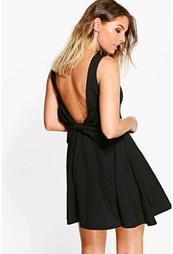Sara Bow Detail Scoop Back Skater Dress
