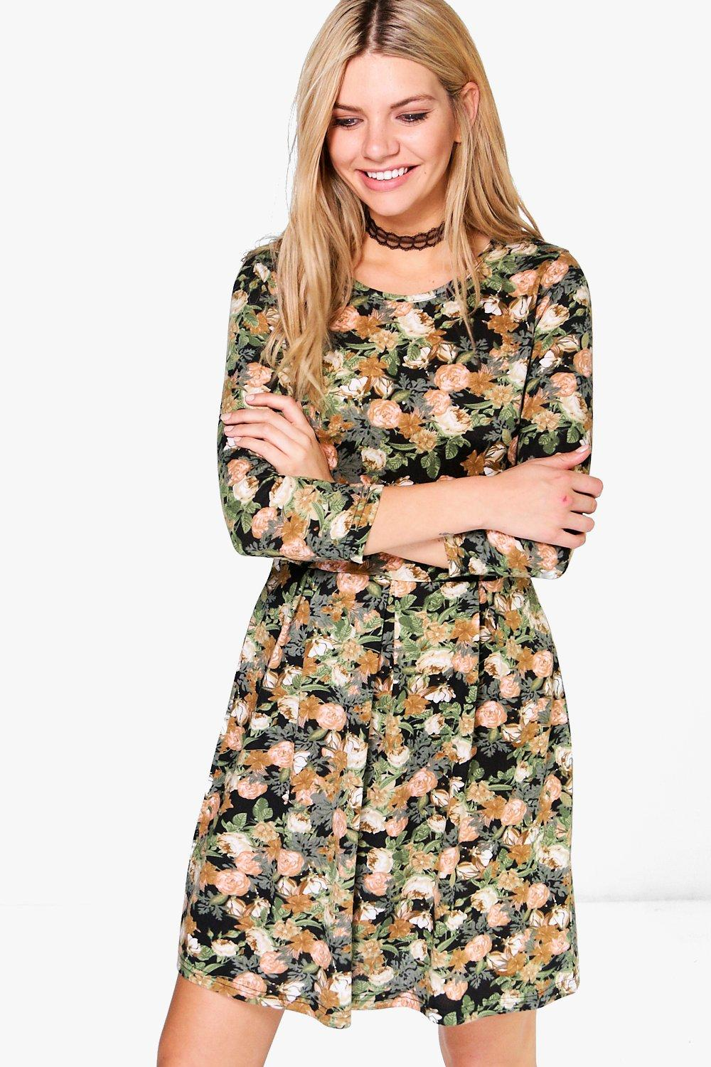 Maura Brushed Knit Floral Skater Dress