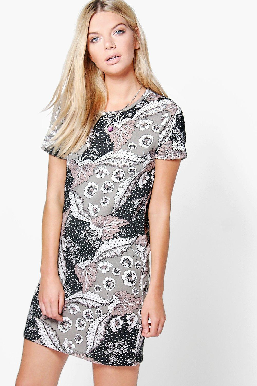 Lanie Floral Brushed Knit Shift Dress