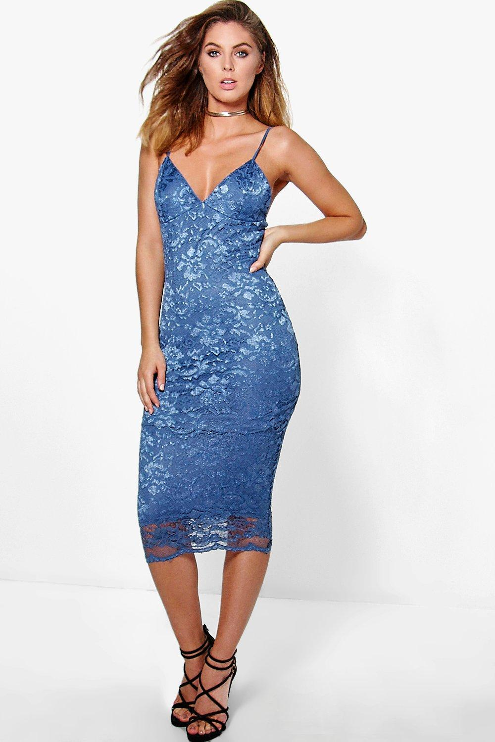 Kate Scallop Lace Midi Bodycon Dress