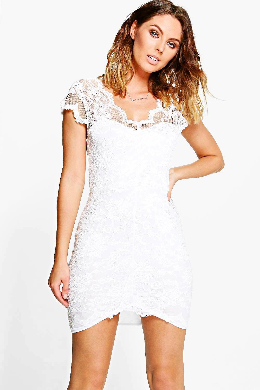 Scallop Lace Bodycon Dress - ivory