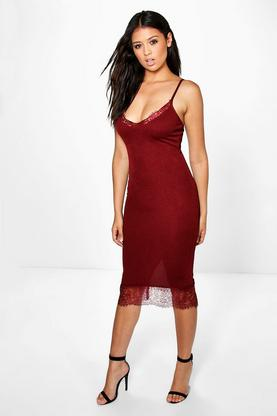 Jane Lace Hem Detail Midi Slip Dress