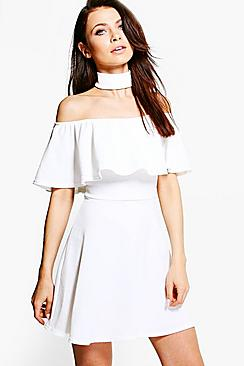 Saskia Choker Off Shoulder Skater Dress