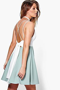 Rose Back Bow Detail Skater Dress