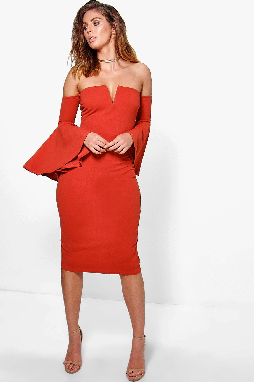 Becky Off Shoulder Midi Bodycon Dress