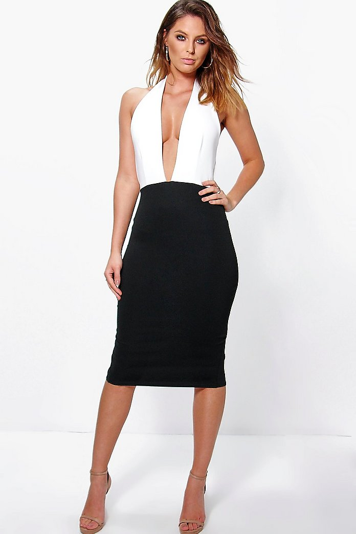Bella Halterneck Slinky Contrast Midi Dress
