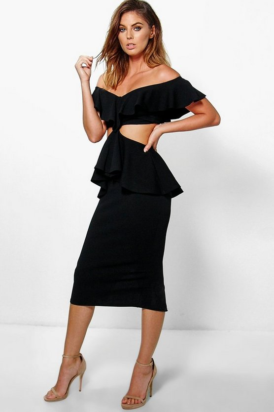 Mia Frill Off Shoulder Peplum Midi Dress