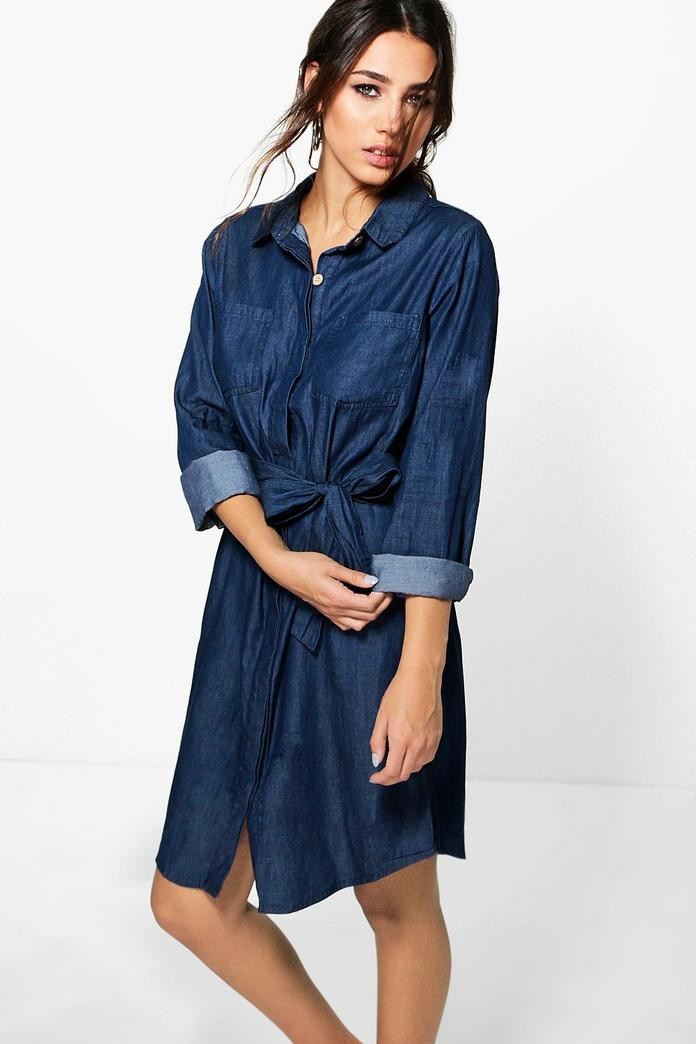 Ria Button Through Dark Indigo Denim Shirt Dress Boohoo