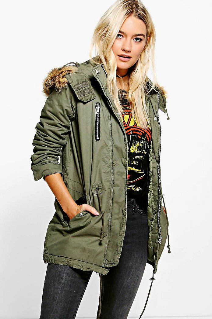 Alicia Leather Look Trim Parka