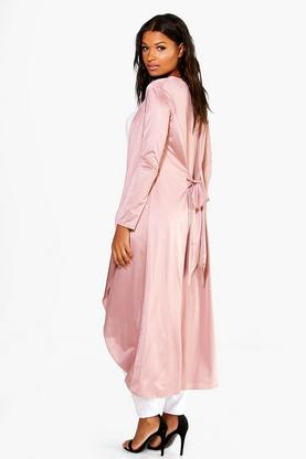 Tia Tie Back Collarless Slinky Maxi Duster