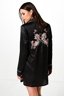 Serena Satin EmbroideredBack Shirt Dress