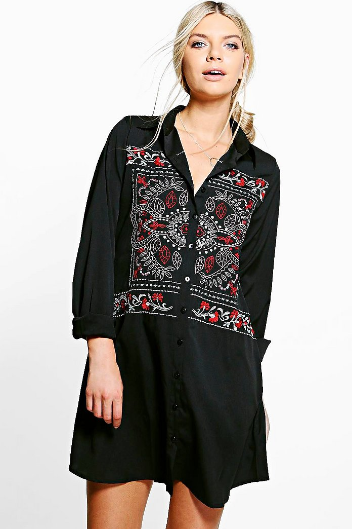 Boutique Elodie Embroidered Shirt Dress