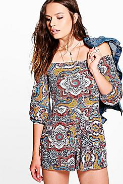 Kelly Paisley Print Of The Shoulder Playsuit