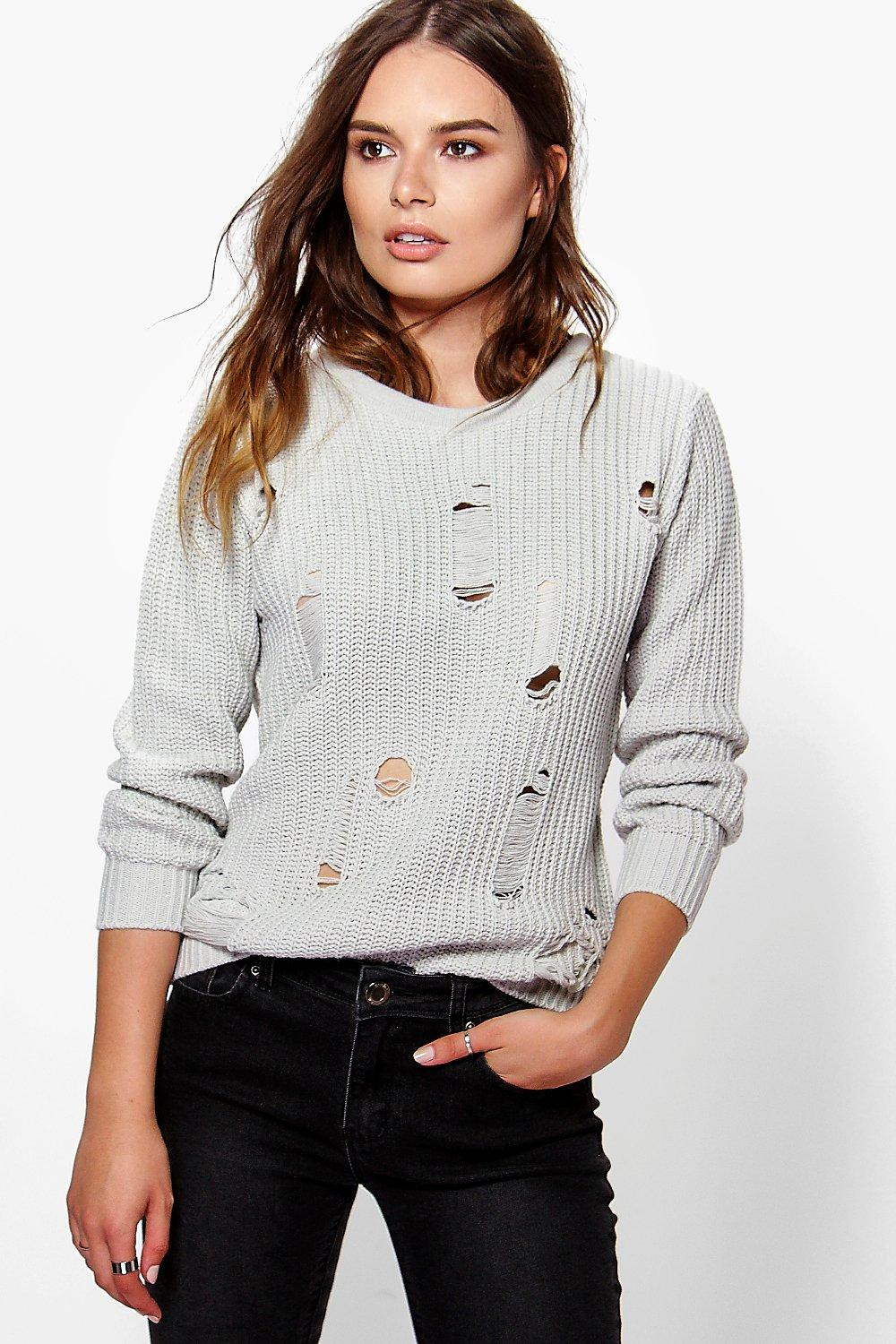 Julia Distressed Long Fisherman Jumper