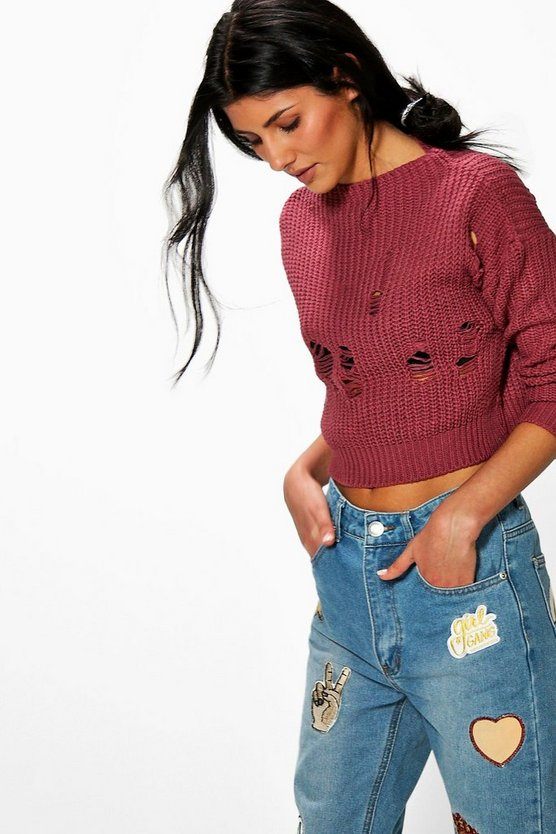 Niamh Crop Funnel Neck Distressed Jumper