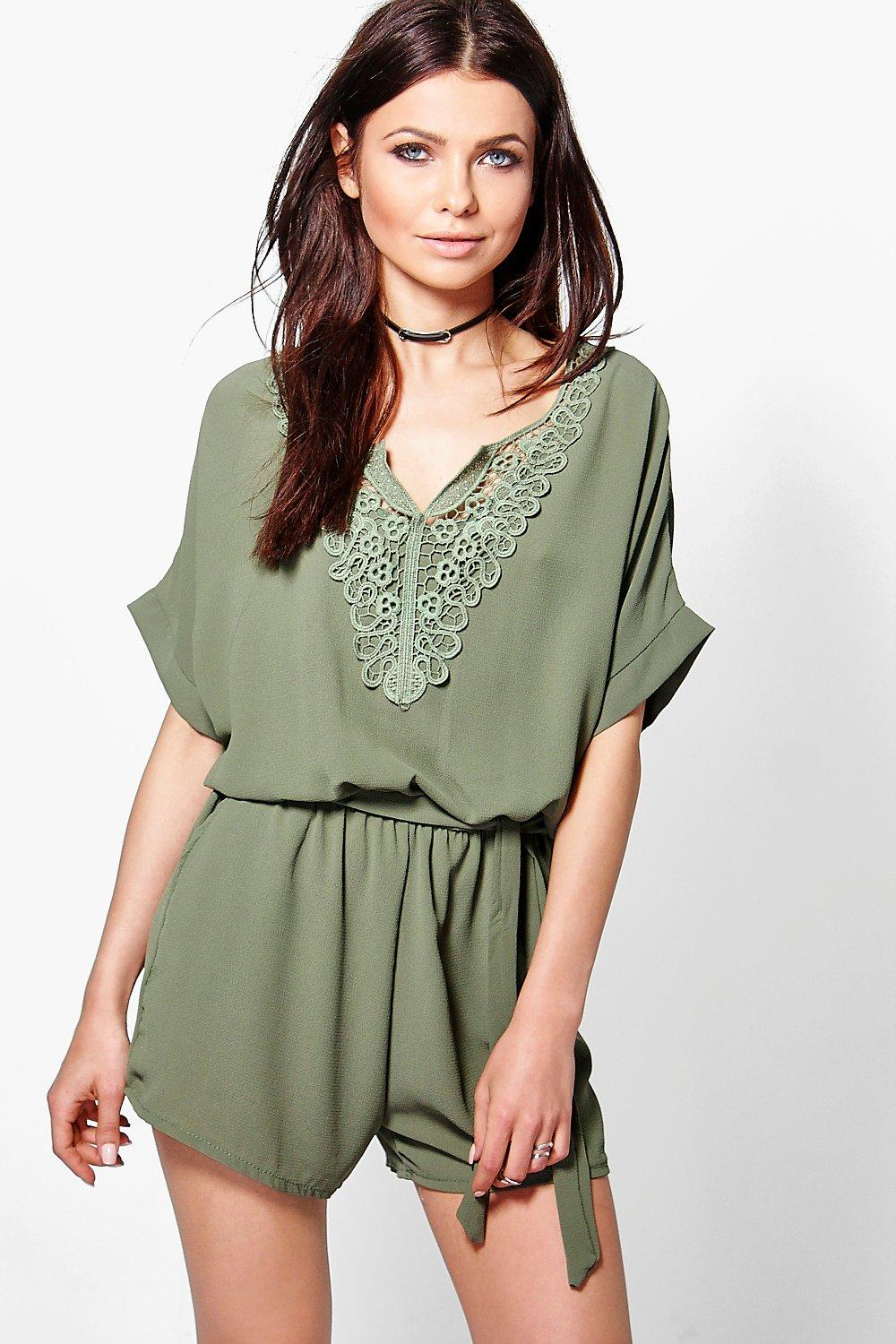Linda Crochet Trim Playsuit