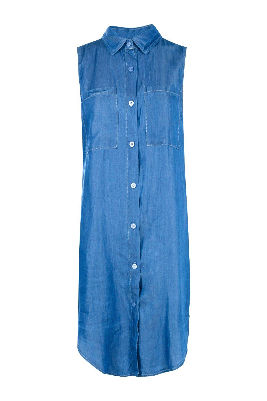Boohoo Womens Hannah Sleeveless Longline Denim Shirt In