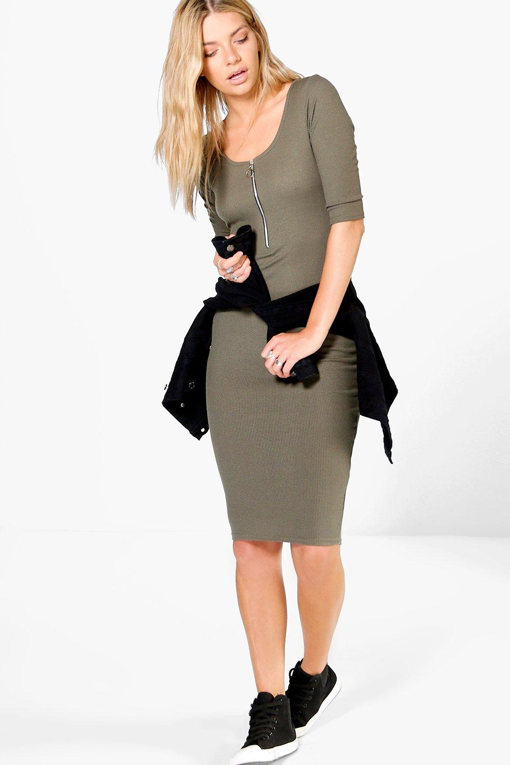 El D-Ring Zip 3/4 Sleeve Midi Bodycon Dress