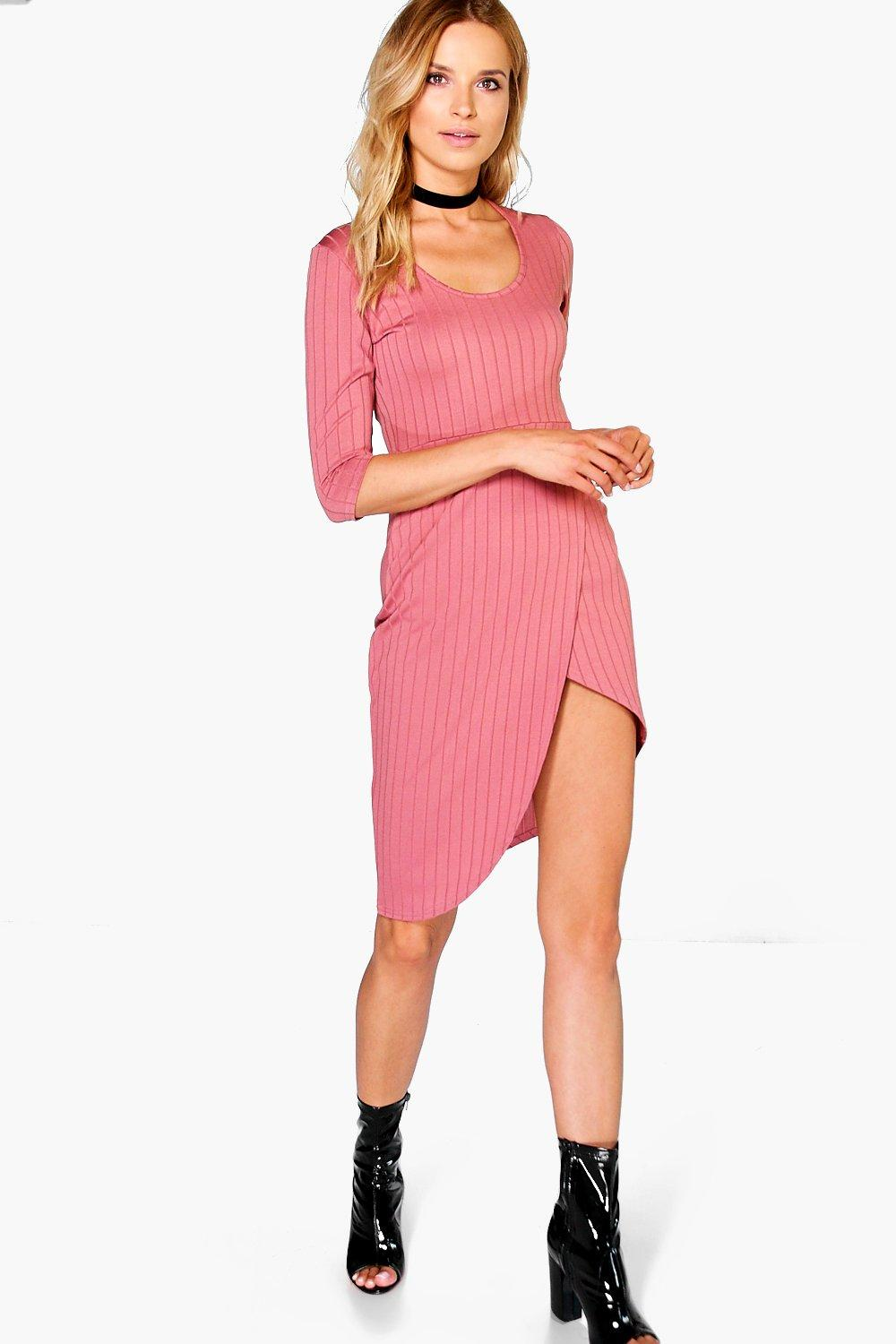 Hayley Ribbed Wrap Bodycon Dress