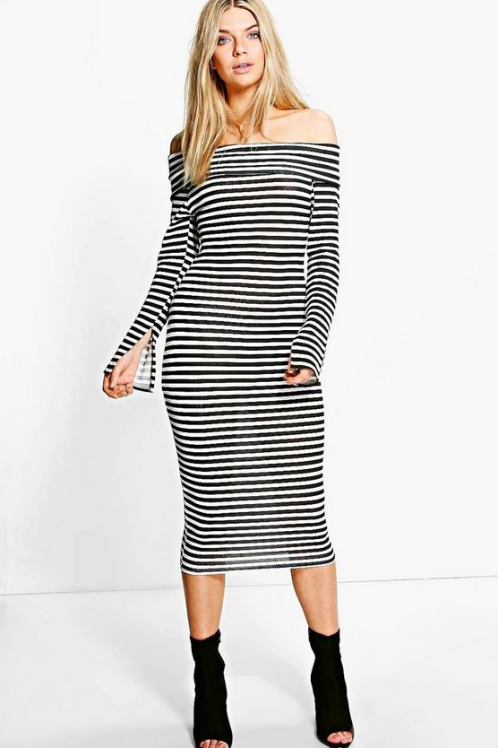 Charmaine Off Shoulder Striped Midi Dress
