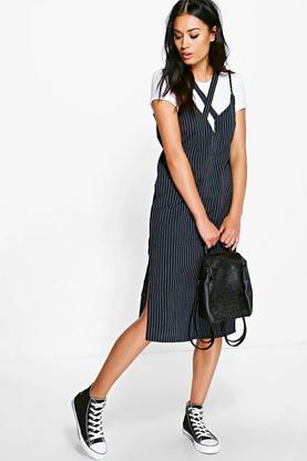 Charly Pinstripe V Neck Strappy Slip Dress