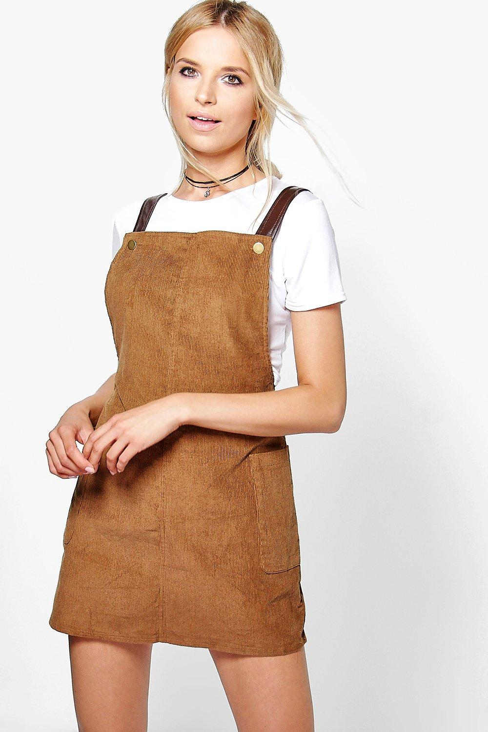 Mia Faux Leather Square Neck Pinafore Dress