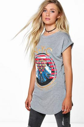 Katie NYC Print Turn Back Sleeve Tee