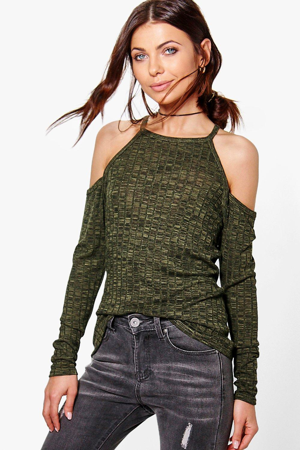 Erin Cold Shoulder Rib Knit Jumper