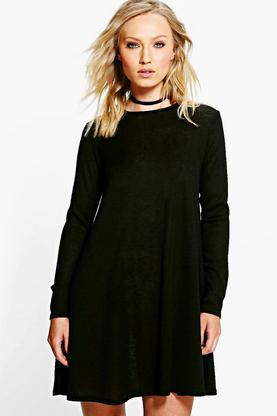 Caroline Rib Knit Swing Dress