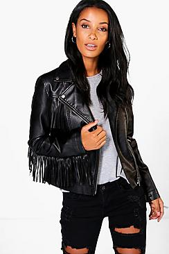 Nicole Tassel Leather Look Biker