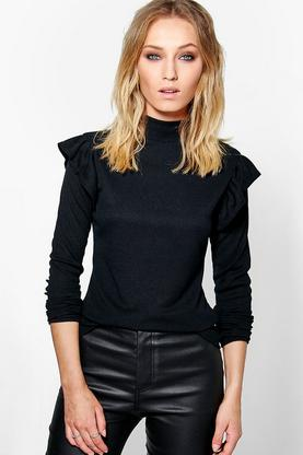 Amy Ruffle Sleeve Rib Knit Jumper