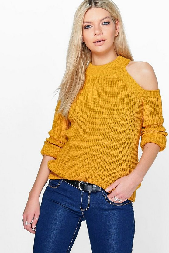 Jade Cold Shoulder Fisherman Jumper