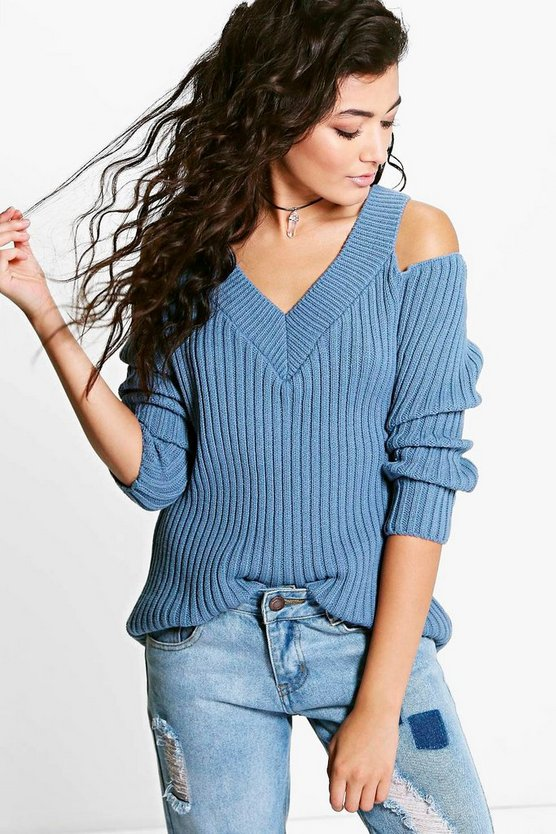 Lucy Cold Shoulder Fisherman Jumper