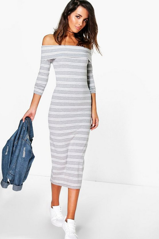 Louisa Off Shoulder Stripe Midi Dress