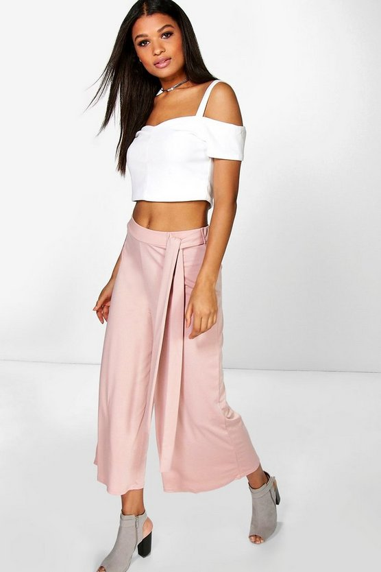 Serena Tie Waist Wide Leg Cropped Trousers