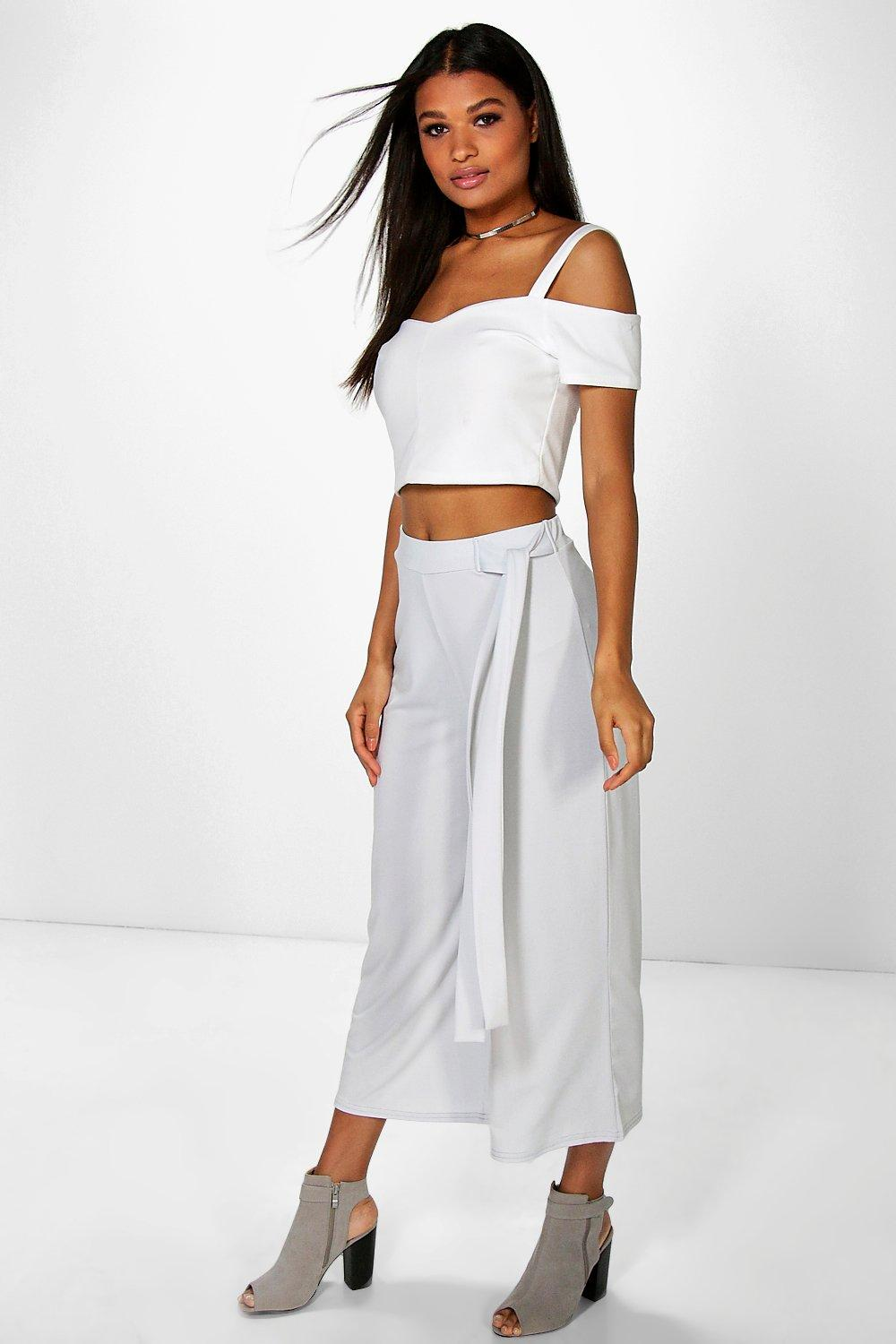 Tie Waist Wide Leg Cropped Trousers silver