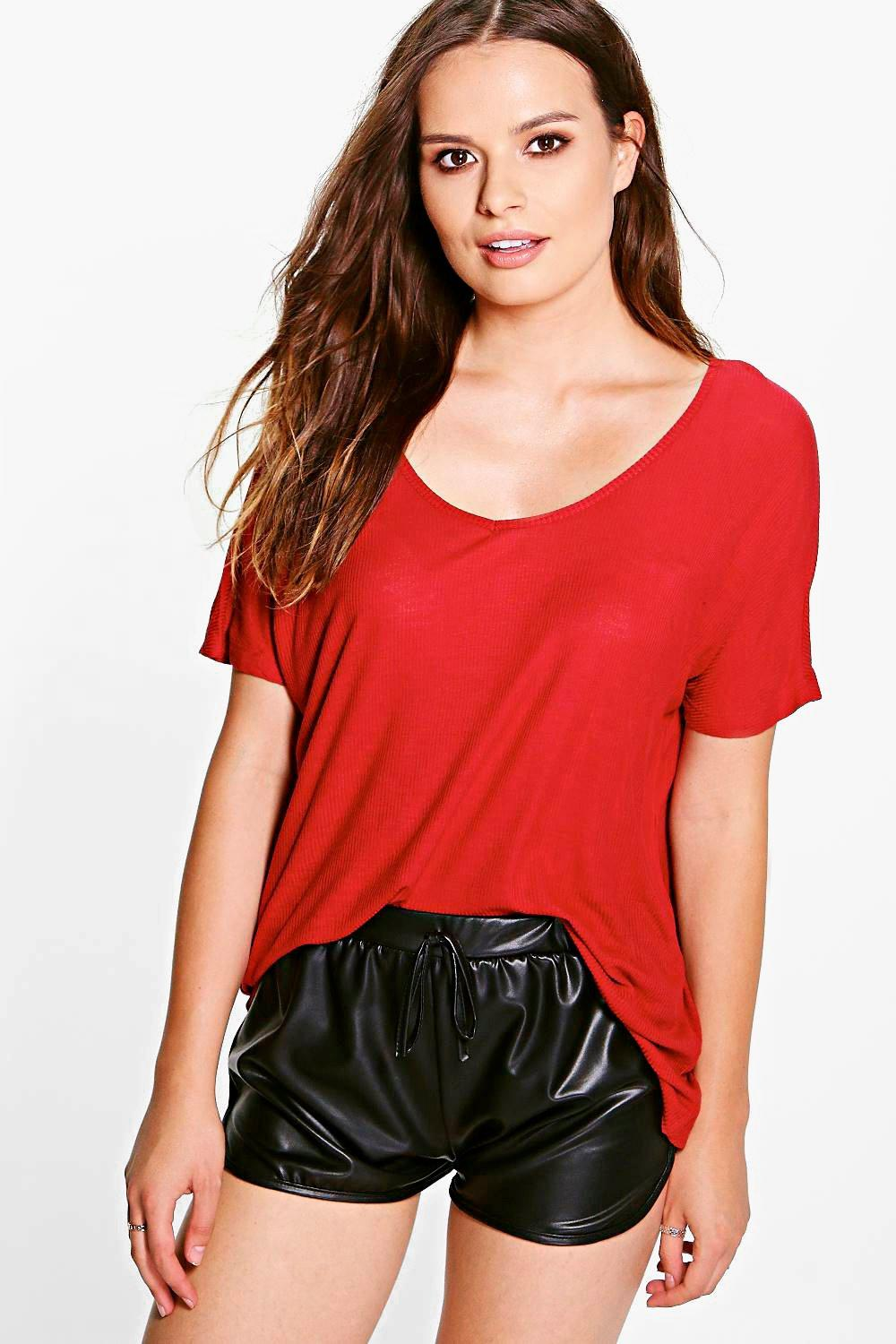 Nina V Neck Ribbed T-Shirt