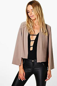 Jade Collarless Cape Blazer