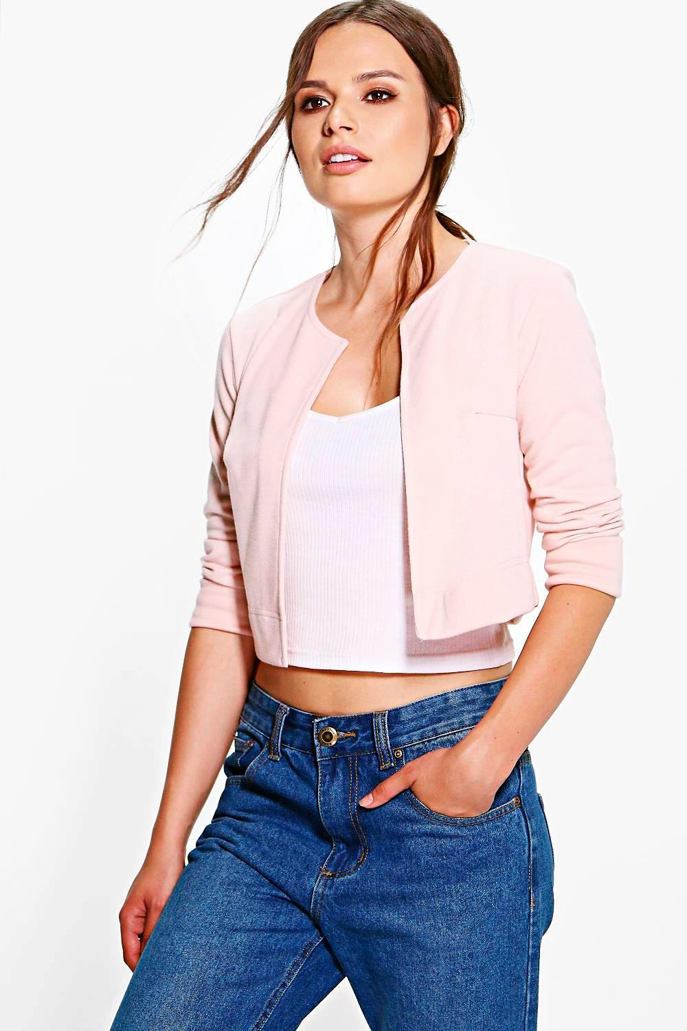 Janey Ponte Crop Edge to Edge Jacket